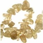 Наниз естествени камъни чипс 8-12 мм ~90 см ЦИТРИН тъмен