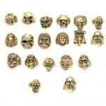 Пръстен метал череп цвят злато