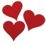 Сърце филц 55х60х3 мм червено -5 броя
