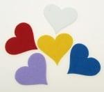 Сърце филц 55х60х3 мм микс цветове -5 броя
