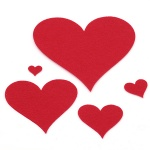 Сърце филц от 20x2 мм до 150x2 мм червено -13 броя
