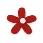 Цвете филц 29x29 мм червено -10 броя