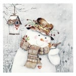 Салфетка за декупаж Ambiente 33x33 см трипластова Snowman holding Robin -1 брой