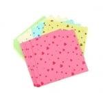 Кубче цветни листи с щампа сърца 9.6x9.6 см 5 цвята за декорация и оригами ~120броя