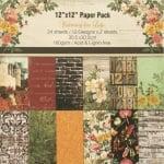 Дизайнерска хартия 160 гр за скрапбукинг, арт и крафт 12 inch (30.5x30.5 см) 12 дизайна x 2 листа Yearning for Life