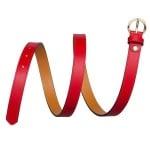 Дамски колан PIERRE CARDIN червен със златна кръгла тока