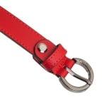 Дамски колан PIERRE CARDIN червен със сребърна кръгла тока