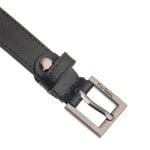 Дамски колан PIERRE CARDIN черен релефен със сребърна квадратна тока