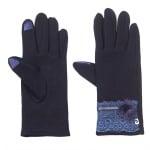Тъмно сини ръкавици с дантела - PIERRE CARDIN
