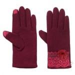 Бордо ръкавици с дантела - PIERRE CARDIN