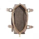Дамска чанта с украсителни ципове в бежаво - ROSSI