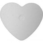 Сърце с плосък гръб от стиропор, бял, 50 mm