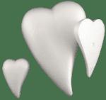 Сърце с плосък гръб от стиропор, бял, 300 mm