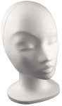 Глава женска от стиропор, бял, H 330 mm