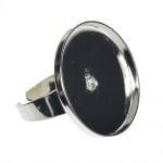 Пръстен за микромозайка,кръгъл,o 25 mm,посребрена