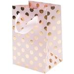 Подаръчна чанта, розова на златни точки, 26 x 32 x 12 cm