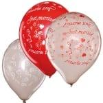 """Балони сватбени """"Just Maried/рози"""", 12 бр., червени и сребърени"""