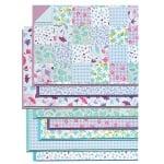 Блок 8 л. цветна хартия/ 16 л. варио картон, А4, сини тонове