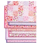 Блок 8 л. цветна хартия/ 16л. варио картон, А4, розово-лилави тонове