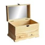 Дървена кутия с огледало, 25 х 15 х 17 см,  натурална
