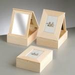 Дървена кутия с рамка за снимки, 24 x 19 x 7,6 cm, натурална