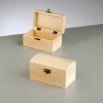 Дървена кутия, закръглен капак, 13,8 x 8 x 7,5 cm, натурална