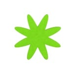 Деко фигурка цвете 8 листно, филц, 60 mm, тревно зелено