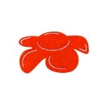 Деко фигурка цвете отстрани, филц, 60 mm, червено