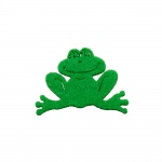 Деко фигурка жаба, филц, 40 mm, зелено