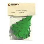 Комплект деко фигурки, 3D елхи от филц, 4 части