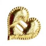 Декорация за лента, Сърце, 38 mm, злато, 25 бр.