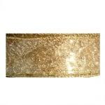 Лента шифон DRAHT с орнаменти, 40 mm, 10m, златиста