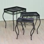 Комплект 3 метални маси Mosaix, 45x35x50/40x30x46/35x24x41 cm, черни