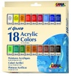 Комплект акрилни бои elGreco, 12 ml, 18 цвята