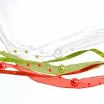 Лента сатенена+шифонена+нишка с перли, 10 mm, 2.5m, зелена