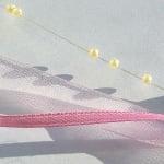 Лента сатенена+шифонена+нишка със сърца, 12 mm, 10m, розова