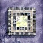 Метална квадратна поставка Mosaix, 16 x 16 x 3,3 cm, черна