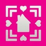 Пънч квадратен с двойна рамка, Къща + Сърца, ~ 22 x 22 mm