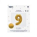 Фолиев балон, цифра 9, 36 cm, злато