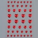 Самозалепващи се кристали, Herz, сърце, 4, 6, 8, 10 mm, 46  бр., червени