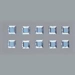 Самозалепващи се кристали, Quadrat, квадрат, 4, 5, 6, 8 mm, 48 бр., светло сини