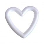 Сърце-пръстен от стиропор, бял, 200 mm