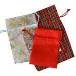 Торбичка подаръчна карирана, 9 x 12 cm, червена/зелена