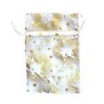 Торбичка подаръчна шифон, 10 x 15 cm, бяла със златни звезди
