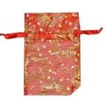 Торбичка подаръчна шифон, 10 x 15 cm, червена със златни звезди