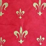 Японска 3D хартия, 35g/m2, 50x70 cm, 1л, червена, златни кралски лилии