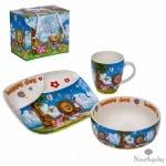 Детски сет - чинийка,чашка и купичка - усмивки