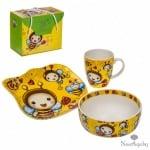 Детски сет - чинийка,чашка и купичка - Пчеличка