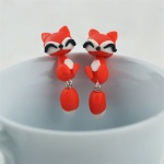 "Арт обеци с 3D ефект - ""Red Fox"" - Червена Лисица"
