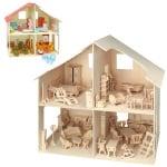 Кукленска къща - комплект за сглобяване,дърво - 262 части, 40x37 cm -